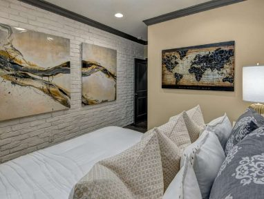 Druid Hills basement guest room brick wall close-up